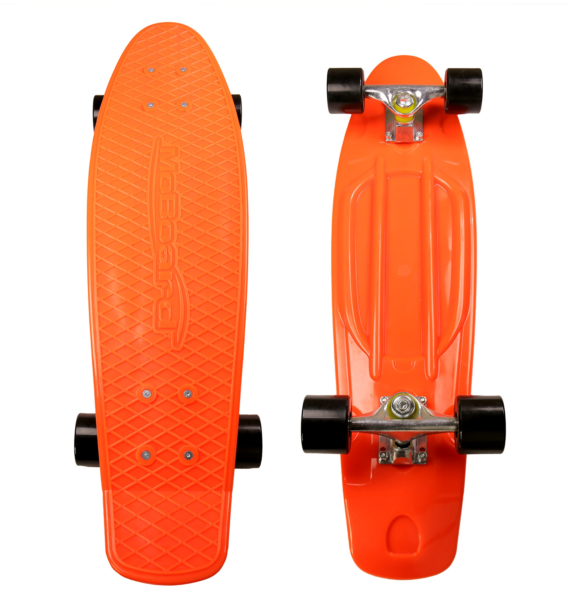 MoBoard Classic 27'' Skateboard | Pro and Beginner | 27 inch Vintage Style with Interchangeable Wheels, Enhanced Bearings | Portable, Lightweight | Durable Rails. (Orange - Black) by MoBoard