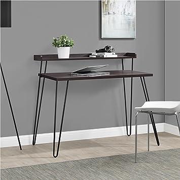 Altra Furniture Haven Retro Desk With Riser, Espresso/Gunmetal Gray