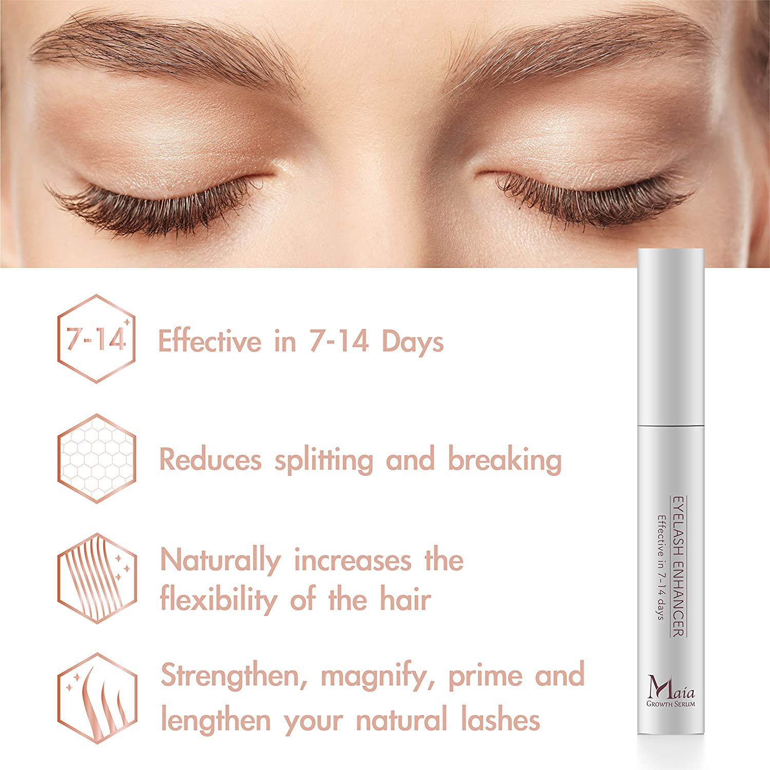 7161b3ecba0 Amazon.com: Maia Eyelash Extension Serum- Eyelash Growth Serum For Fuller,  Longer, Thicker and Stronger Lashes, Enhances the Appearance Of Natural Lash  ...