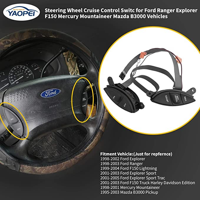 Steering Wheel Cruise Control Switch For Ford F150 Explorer Ranger 1998-2001