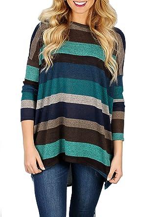 Yidarton Femme T-Shirt Manches Longues Col Rond Top Large Coton Tunique  Casual Haut Blouse 46f314806df5