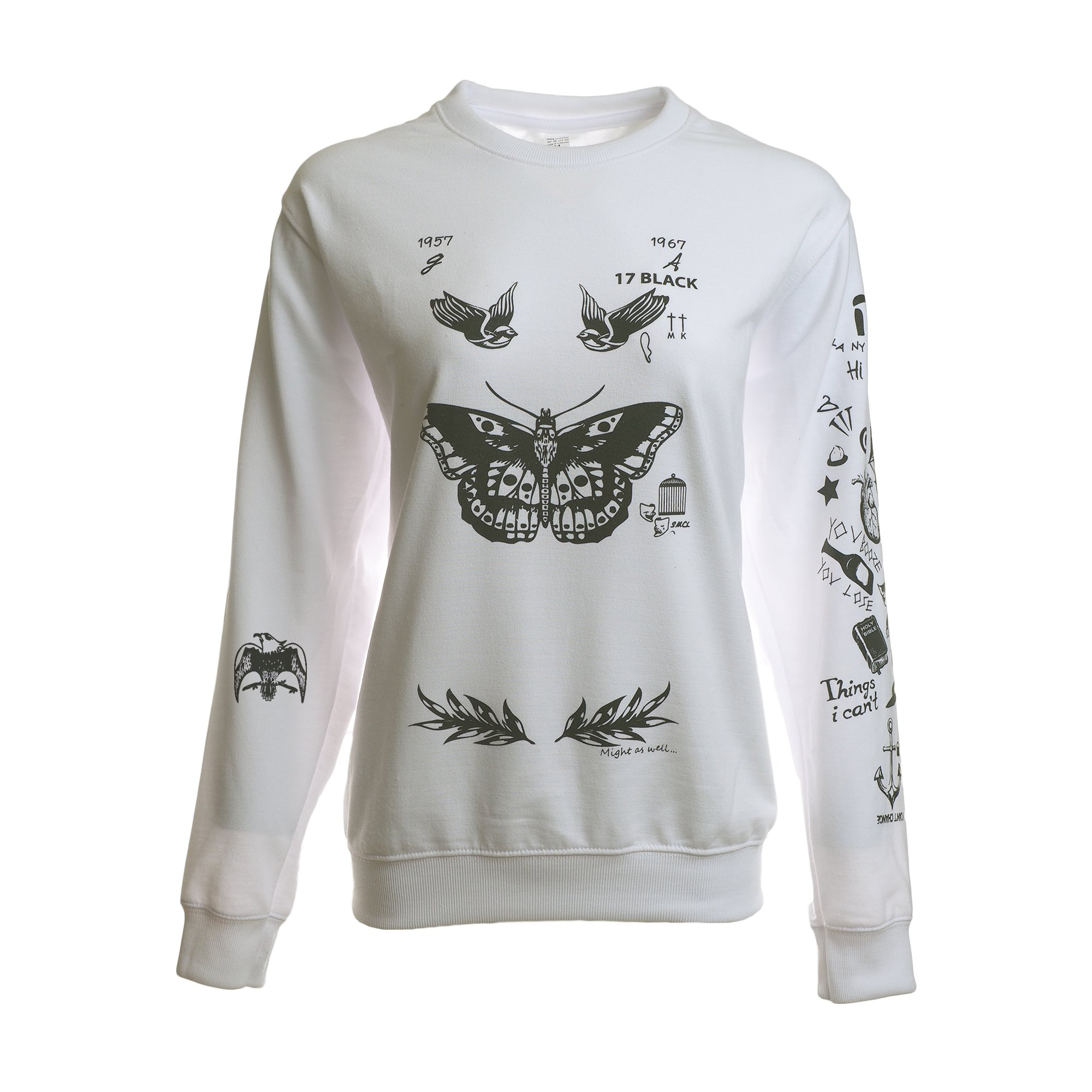 Noonew Women's Butterfly Tattoos Sweatshirt White X-Large Shirt