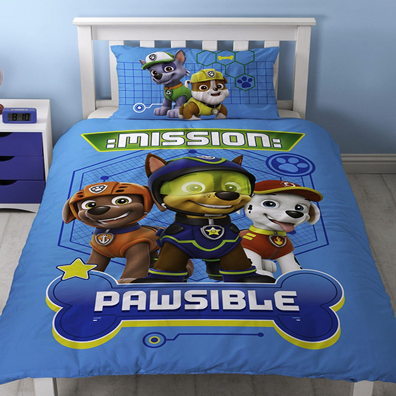 Paw Patrol Childrens/Kids Official Spy Reversible Duvet Cover Bedding Set (Twin) (Blue/Green) UTSG11028_1