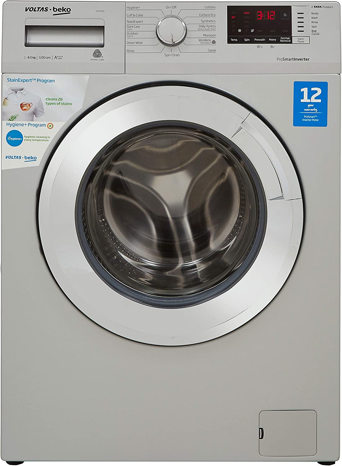 Voltas Beko 6.5 Kg Inverter Fully-Automatic Front Loading Washing Machine, Inbuilt Heater, 26 Stain Remover (WFL65SC, Silver Body, Chrome Door)