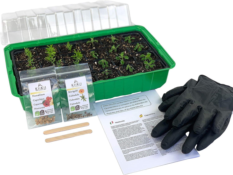 KliKil huerto Urbano Kit de Plantas Naturales con 1 semillero, Guantes, 2 paletas de Madera, Dos Semillas aromaticas ecológicas seleccionadas, no OGM, de Calendula y Nasturtium officinale o Capuchina
