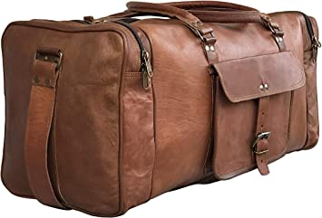 24 Inch Square Duffel Travel Gym Sports Overnight Weekend Leather Bag