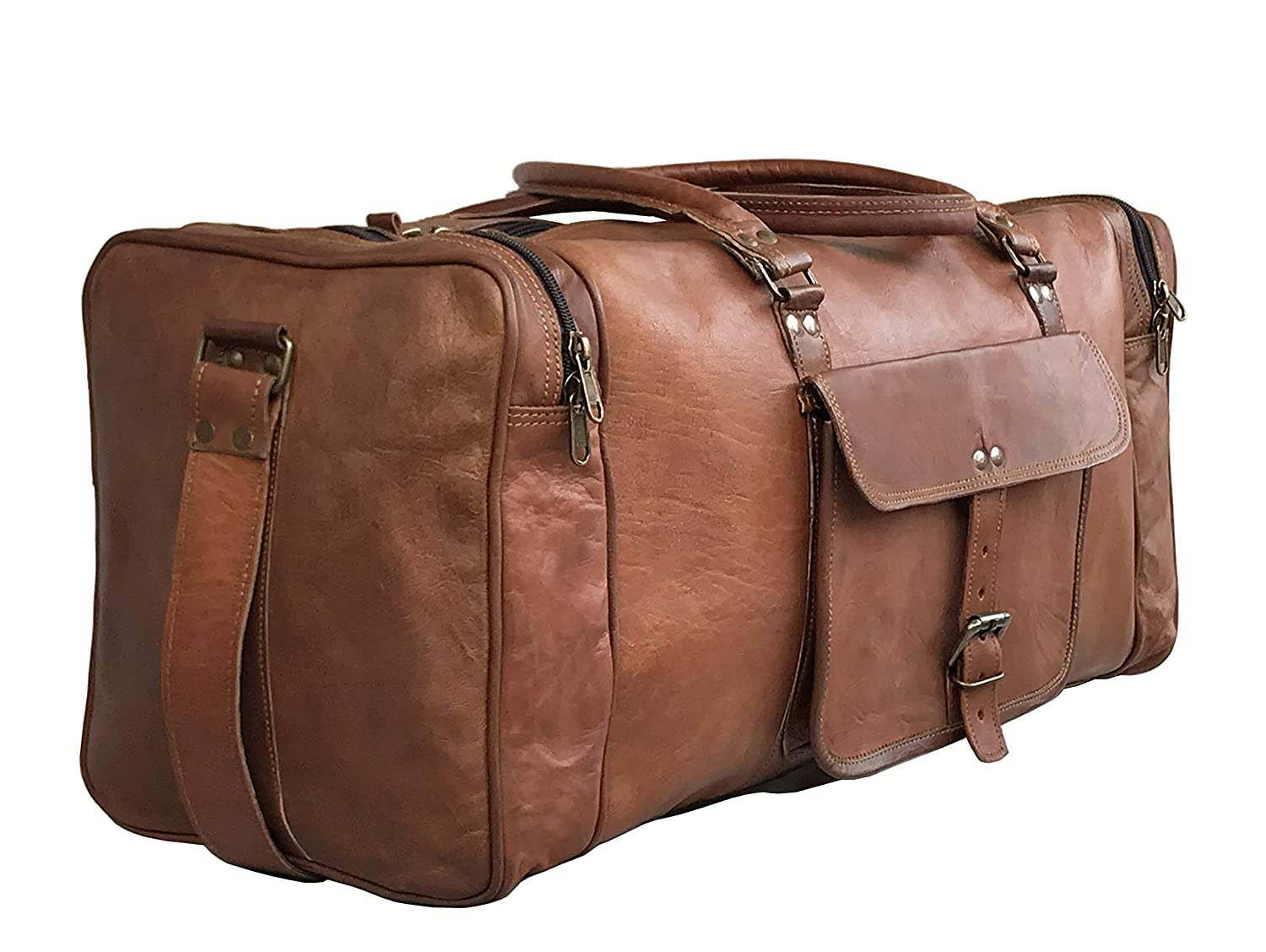 24 Inch Genuine Leather Duffel Travel Overnight Weekend Leather Bag Sports Gym Duffel for Men 25 inch