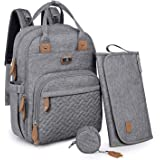 Diaper Bag Backpack with Portable Changing Pad, Pacifier Case and Stroller Straps, Dikaslon Large Unisex Baby Bags for…