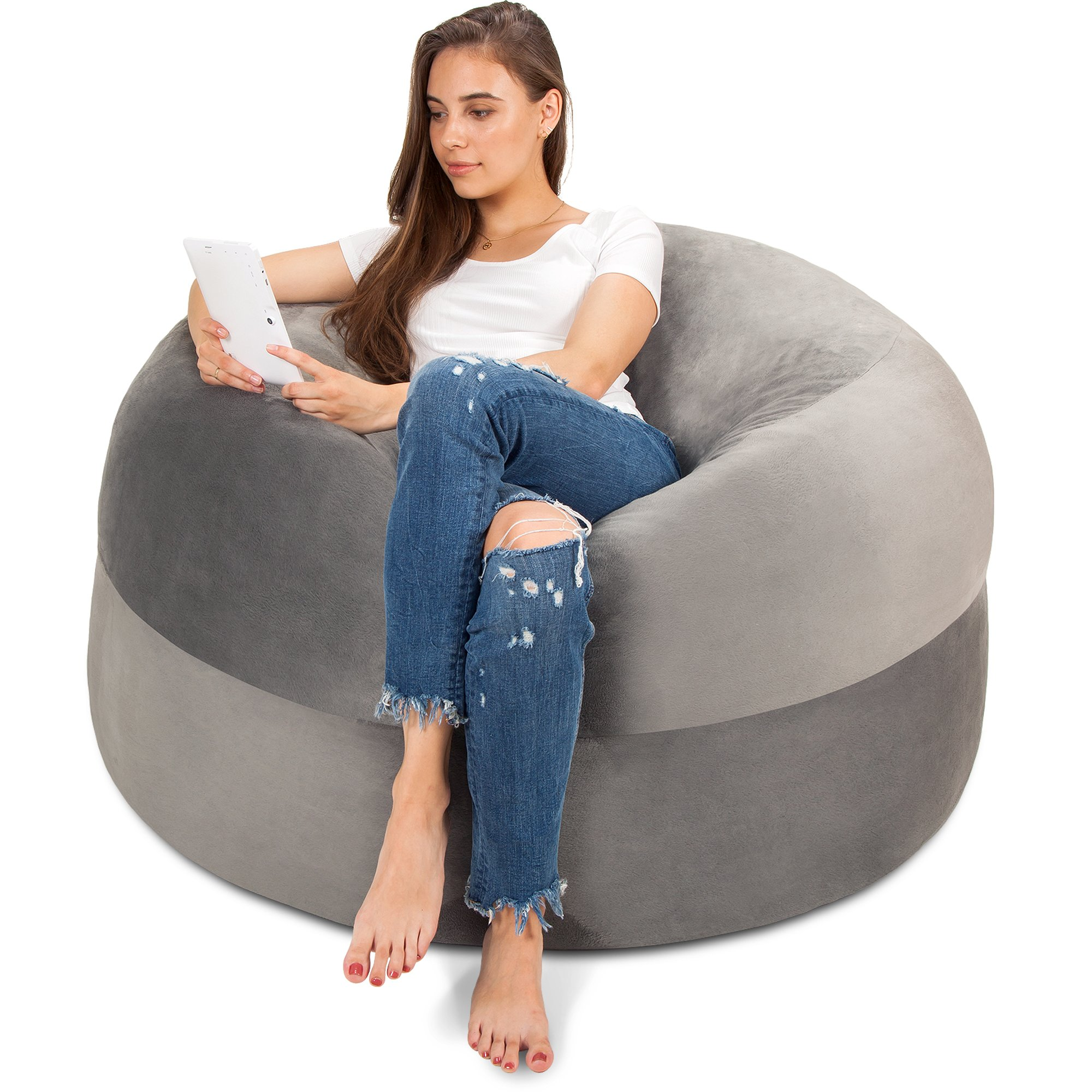 5FT Bean Bag Chair in Steel Grey - Big Velour Comfort Cover with Memory Foam Filler - Gigantic Bed, Large Sofa, Cozy Lounger, Chill Mattress - Kids, Adults & Teens Love This Huge Sack Panda Sleep by Panda Sleep