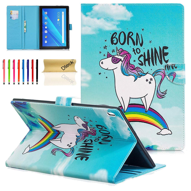Dteck スリムフィット フォリオスタンド PUレザー財布カバー カードホルダー/ポケット付き Lenovo Tab 4/ Tab 4 Plus 10.1インチHDタブレット2017年リリース用  B_Rainbow Unicorn B07LFGK5V7