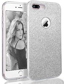 Coovertify Funda Purpurina Brillante Plateada iPhone 7 Plus, Carcasa resistente de gel silicona con brillo gris plata para Apple iPhone 7 Plus (5,5)