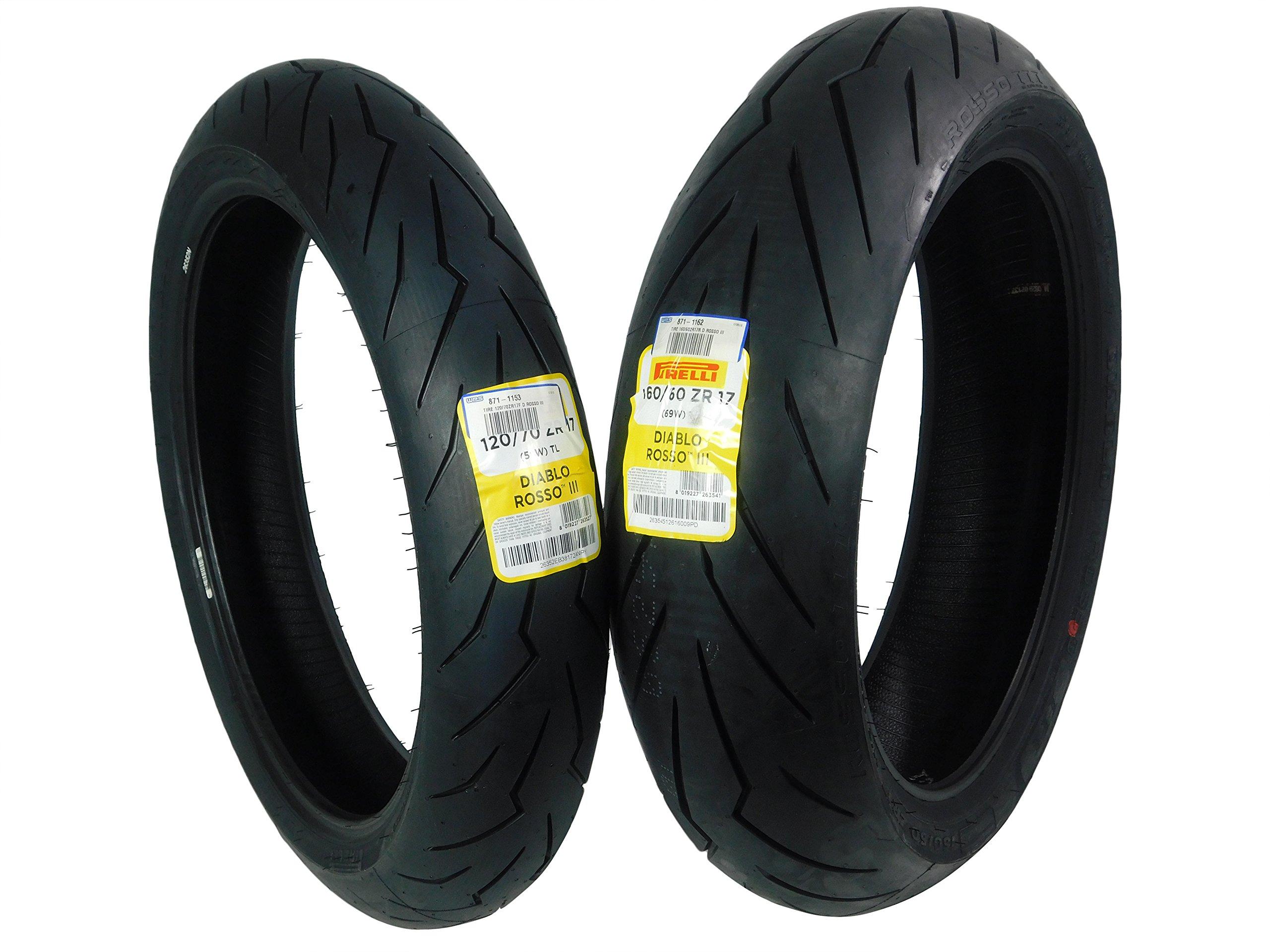 Pirelli Diablo Rosso III Front & Rear Street Sport Motorcycle Tires Rosso Three Rosso 3 (120/70ZR17 160/60ZR17)