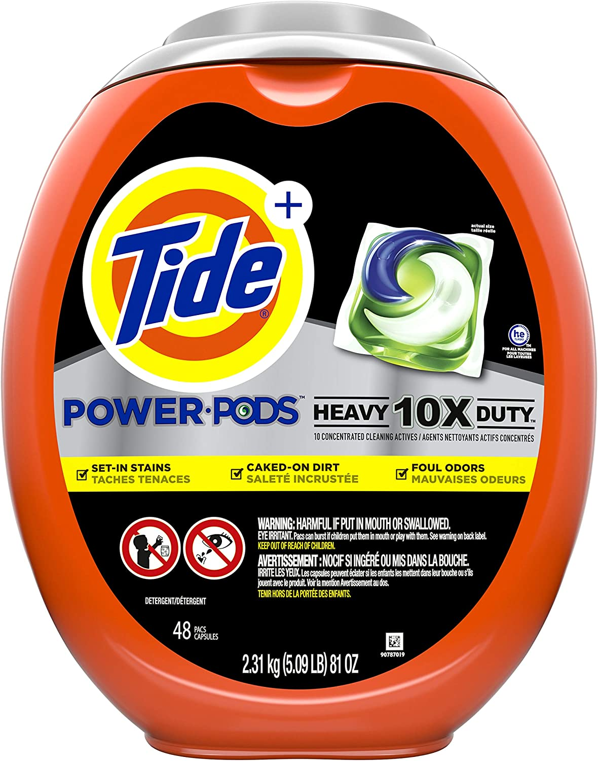 Tide Power pods Laundry Detergent Liquid pacs, 10x Heavy Duty for Impossible Stains, 48 Count