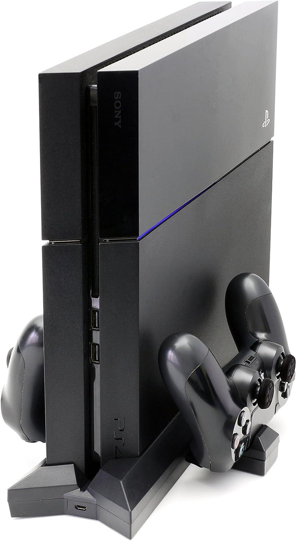 MyGadget PS4 Soporte Vertical para Consola Playstation 4Slimcon ventilación - EstaciónDocking StationCargaDualshock5X más Rápida y 3 Puertos USB