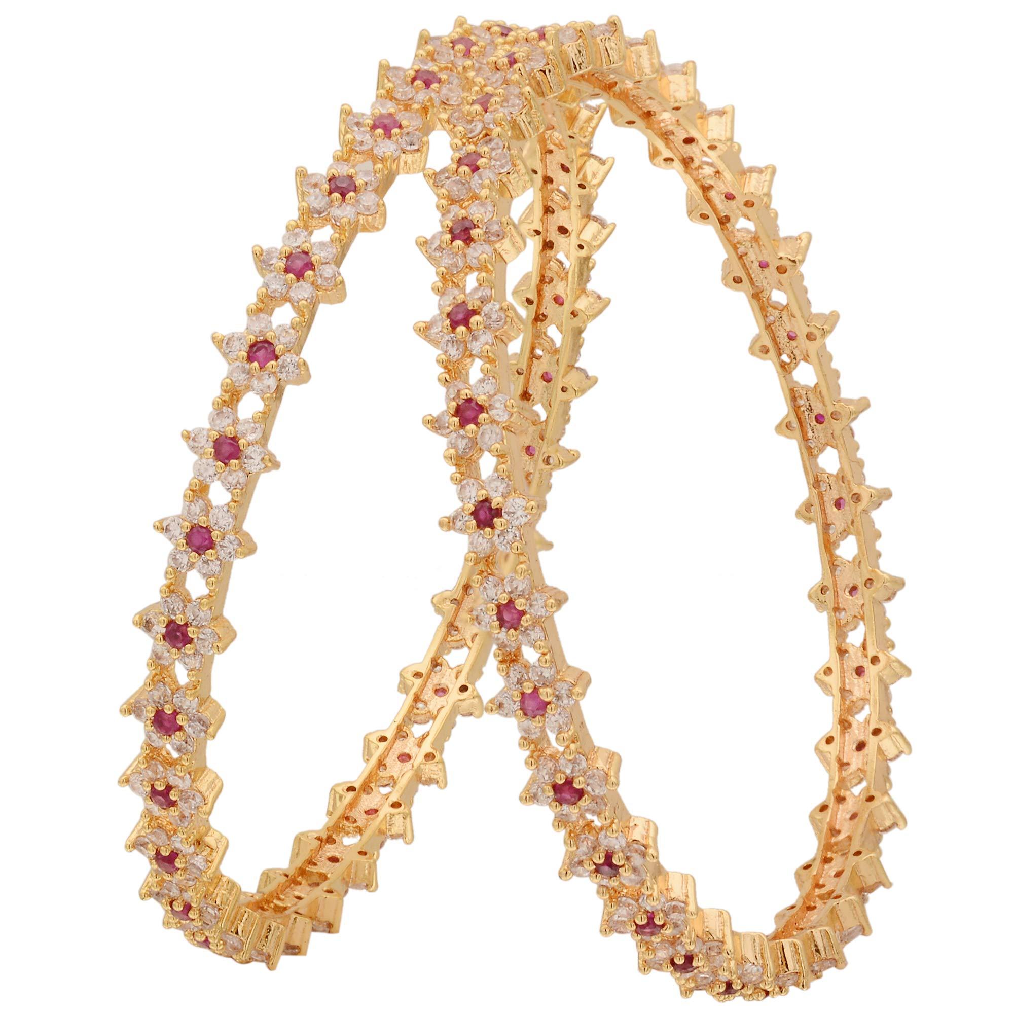 Sasitrends CZ/AD Micro Gold Plated American Diamond Star Design Bangles for Women (White Ruby, 2.6) (B07K2NY9VR) Amazon Price History, Amazon Price Tracker