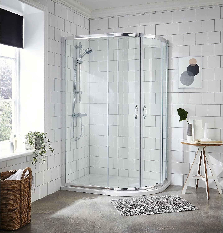 Nuie ERQ8 Ella ǀ Modern Bathroom 5mm Safety Glass Quadrant Shower Enclosure Clear Satin Chrome 800mm x 800mm 800mm