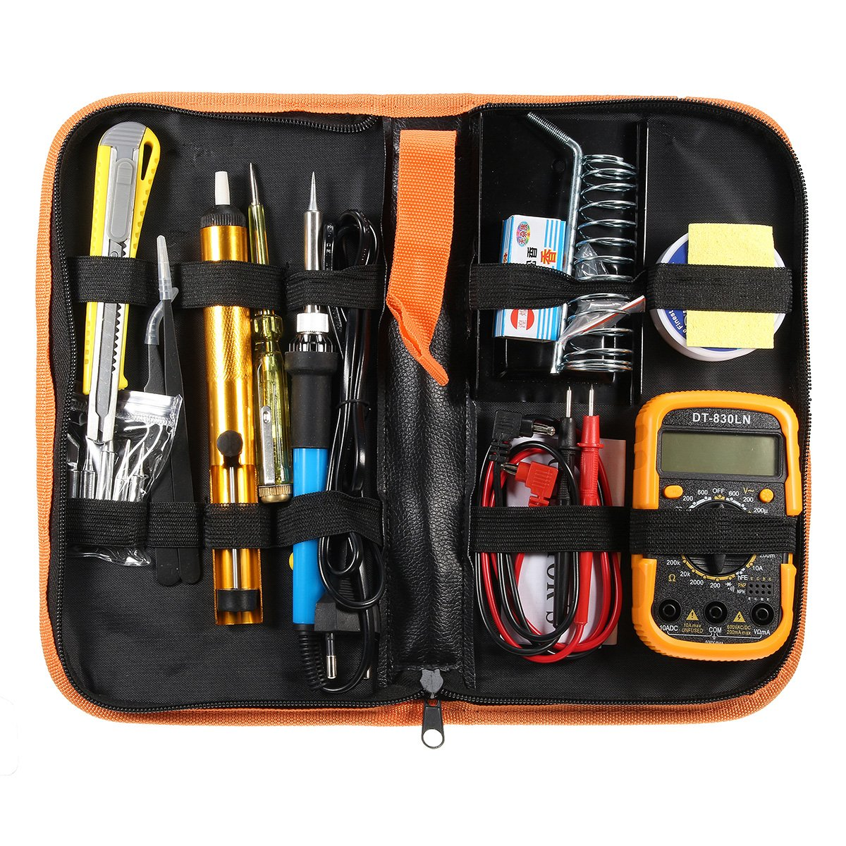 UL 110V/220V 60W Adjustable Temperature Welding Solder Soldering Iron Multimeter Tool Kits (EU)