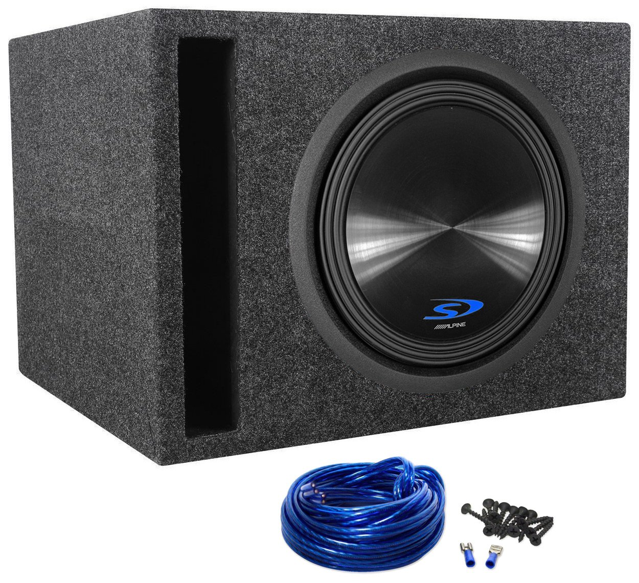 Package Alpine Type S Sws 12d2 12 1500 Watt Dual 2 Ohm Subwoofer Wiring Kits For Cars Car Rockville Rsv12 Single Vented Enclosure Sub Box Wire