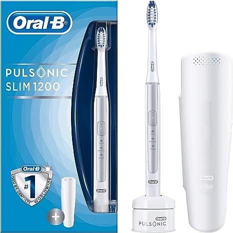 Braun Oral B Pulsonic Slim 1200 Spazzolino elettrico a ultrasuoni, con timer, 1 spazzola e custodia da viaggio, colore: Argento