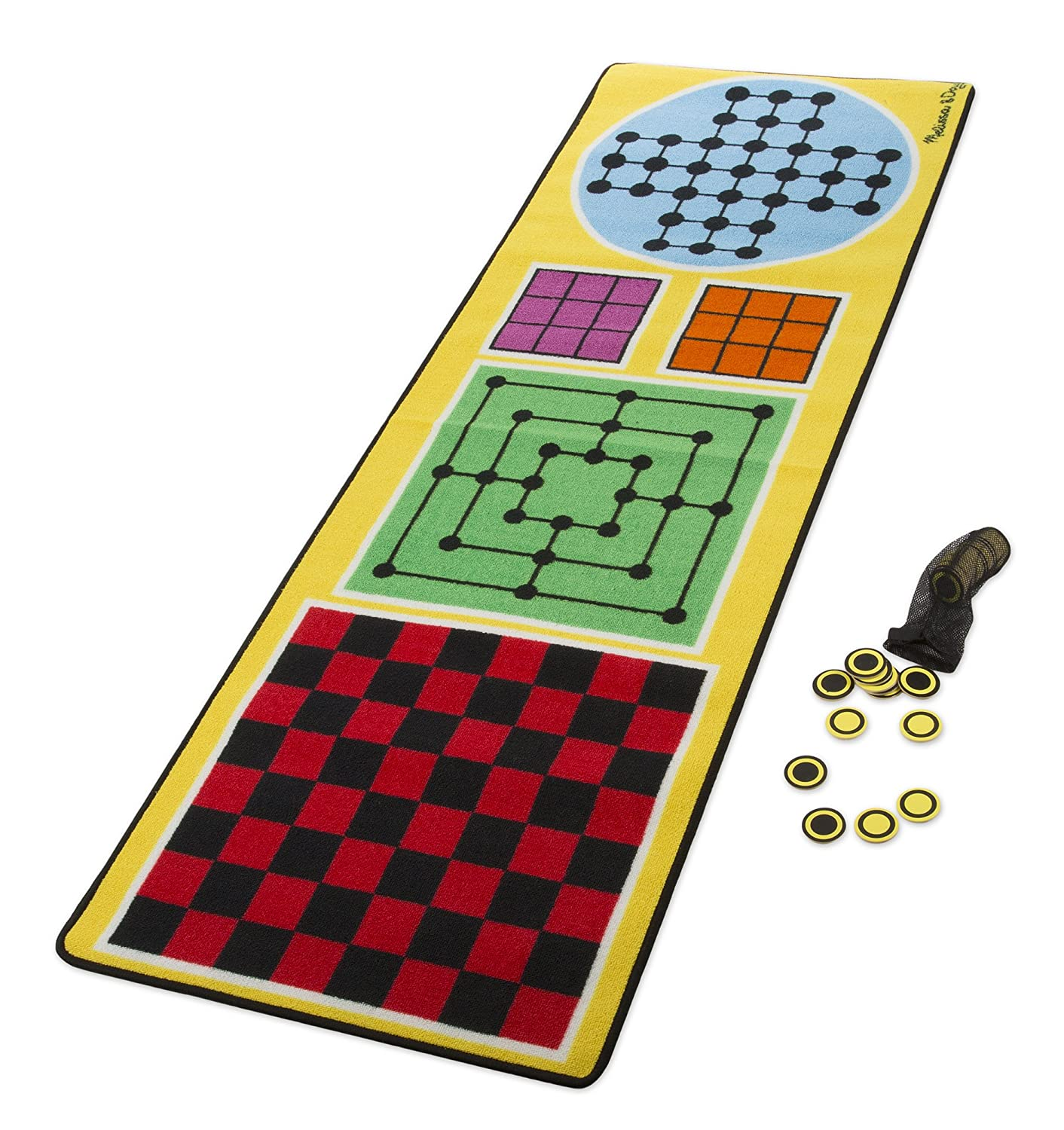 Amazon.com: Melissa & Doug 4-in-1 Game Rug (78.5 x 26.5 inches) - 4 Board  Games, 36 Game Pieces: Toys & Games