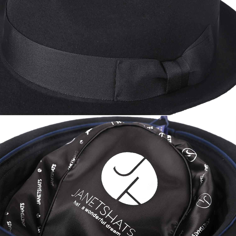 b3854ced432a18 Janetshats Unisex Wool Trilby Felt Fedora Hats Short Brim Panama Jazz  Bowler Hat FM138003A