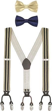 Hombre Tirantes Pajarita Set Tirantes Ajustables y Elásticos Básicos 3.5*120cm Y-Forma 6 Clip Braces Para Hombre Hasta 2, 0m con Pajarita: Amazon.es: Ropa y accesorios