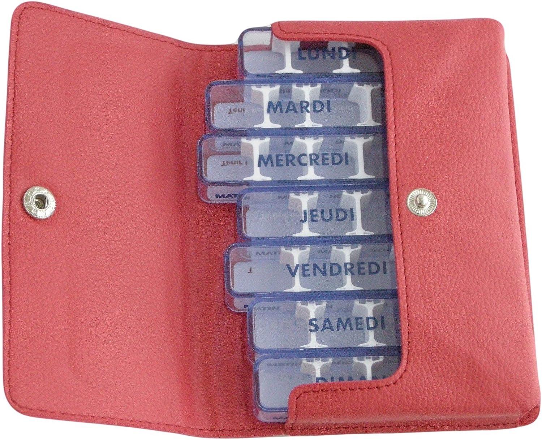 Medidos-simili - Pastillero semanal, color rojo, en francés, en estuche de bolsillo, 7 días individuales, 28 compartimentos modulables, para medicamentos poco voluminosos, estuche ultra suave, agradable al tacto, dimensiones el estuche que
