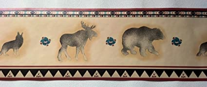 Lodge Wallpaper Border Bear Moose Wolf Wolves Amazon Com