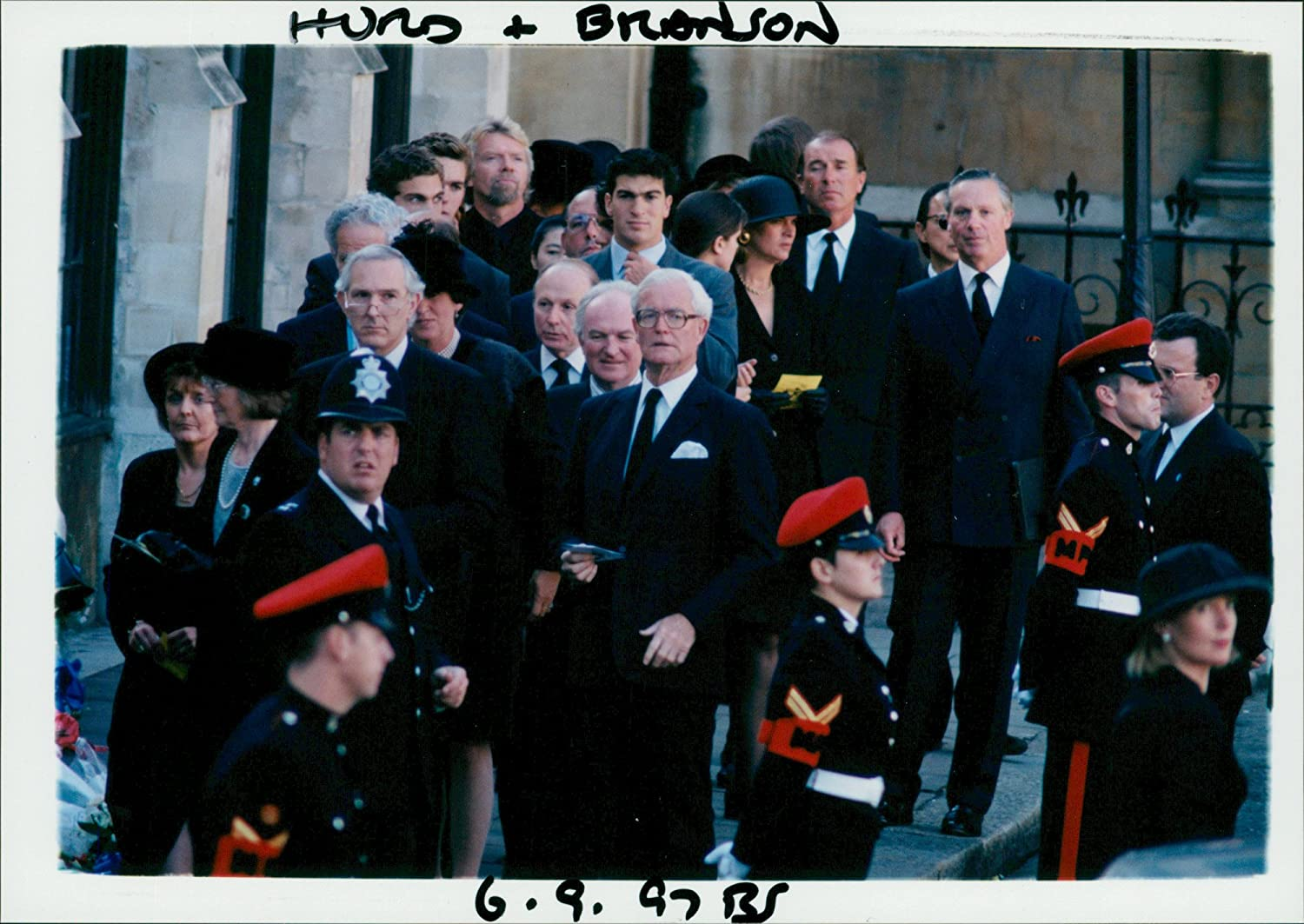 vintage photo of douglas hurd and richard branson in princess diana funeral amazon ca home kitchen vintage photo of douglas hurd and