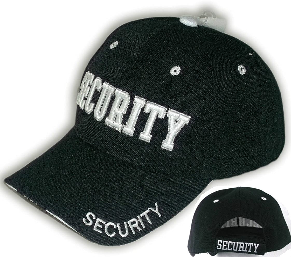 Security Hat Baseball Ball Cap Black Embroidered Adjustable 100% Cotton: Clothing