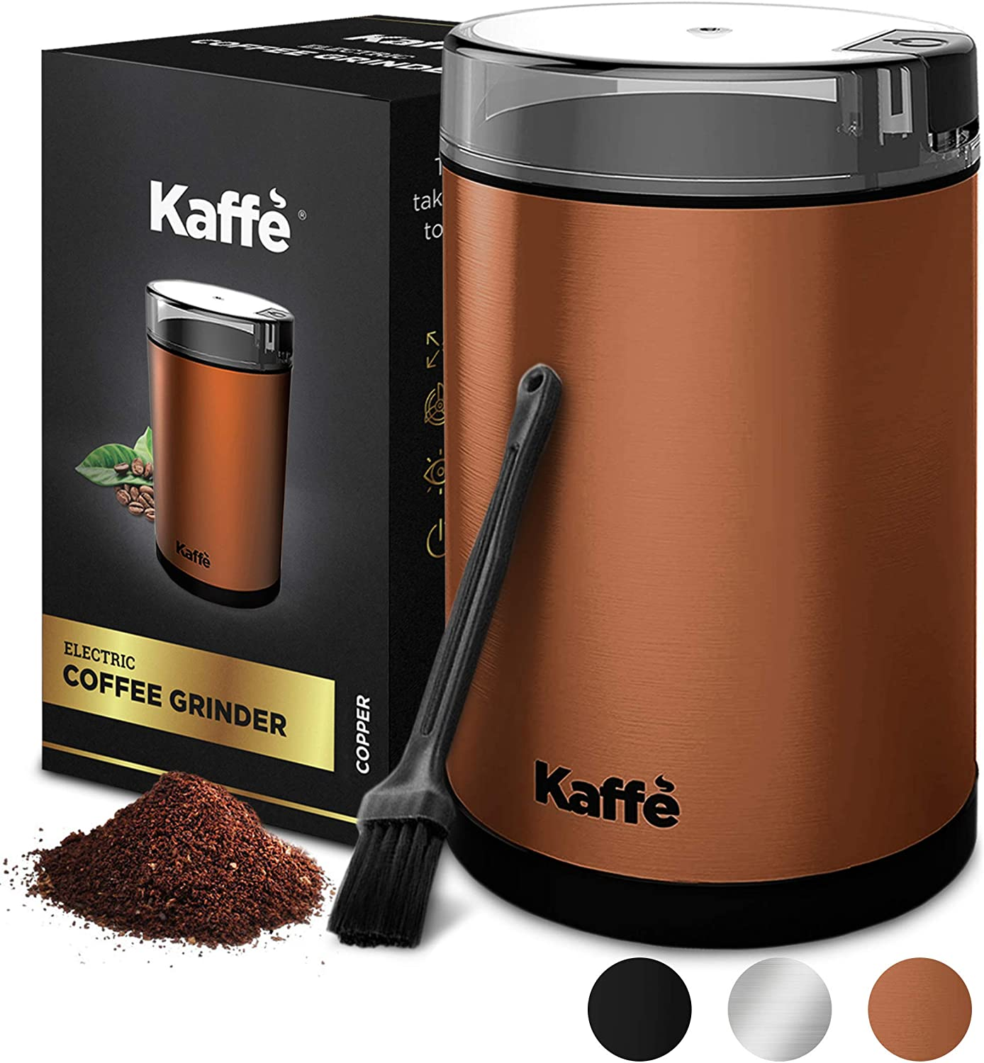 KF2030 Electric Coffee Grinder by Kaffe - Copper 2.5oz Capacity with Easy On/Off Button. Cleaning Brush Included!