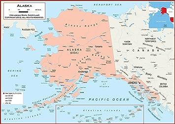 Amazon.com : 42 x 30 Alaska State Wall Map Poster with ...