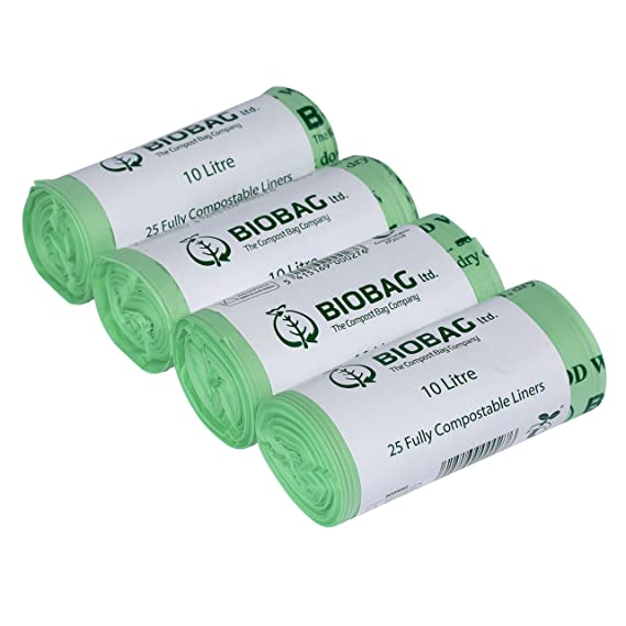 Bolsas de Basura biodegradables, 10 L Caddy Liners, 100, Verde, Pack de 4