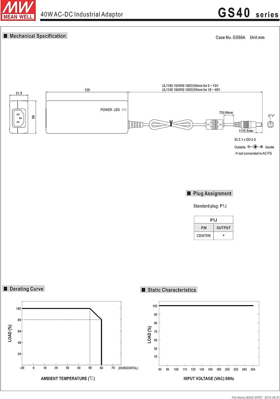 Mean Well Original GS40A05-P1J AC-DC Green Industrial Adaptor 5V 5A 25W