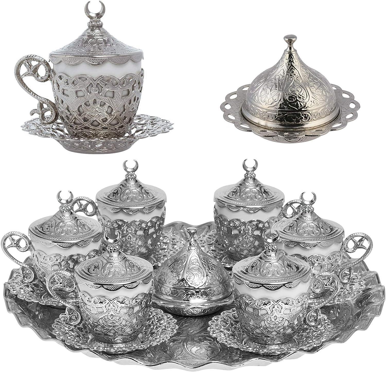 Alisveristime 27 Pc Turkish Greek Arabic Coffee Espresso Cup Saucer Set (Gelincik) (Silver)
