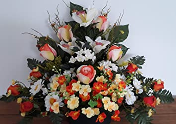 roselynexpress Composition de Fleurs artificielles, lesté Totalement Ciment  en jardinière, pour cimetière. Réalisé par nos Soins, Produit apprécié