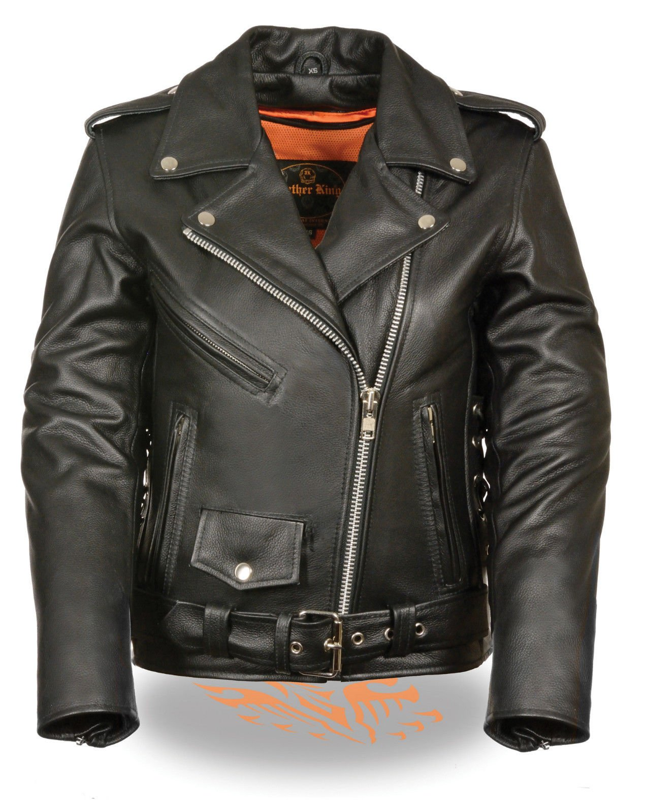 LEATHER KING Motorcycle women's Side lace MC Leather jacket with silver zipper hardware Blk (XS Regular)