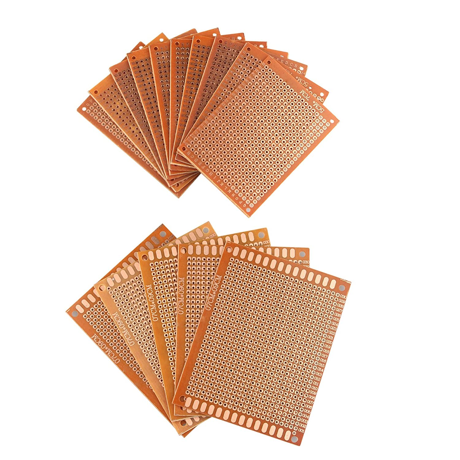 HALJIA 15 Pieces Prototype Universal PCB Circuit Board Breadboard Bakelite Single Side Copper With 5CM X 7CM And 7CM X 9CM Sizes For DIY Soldering