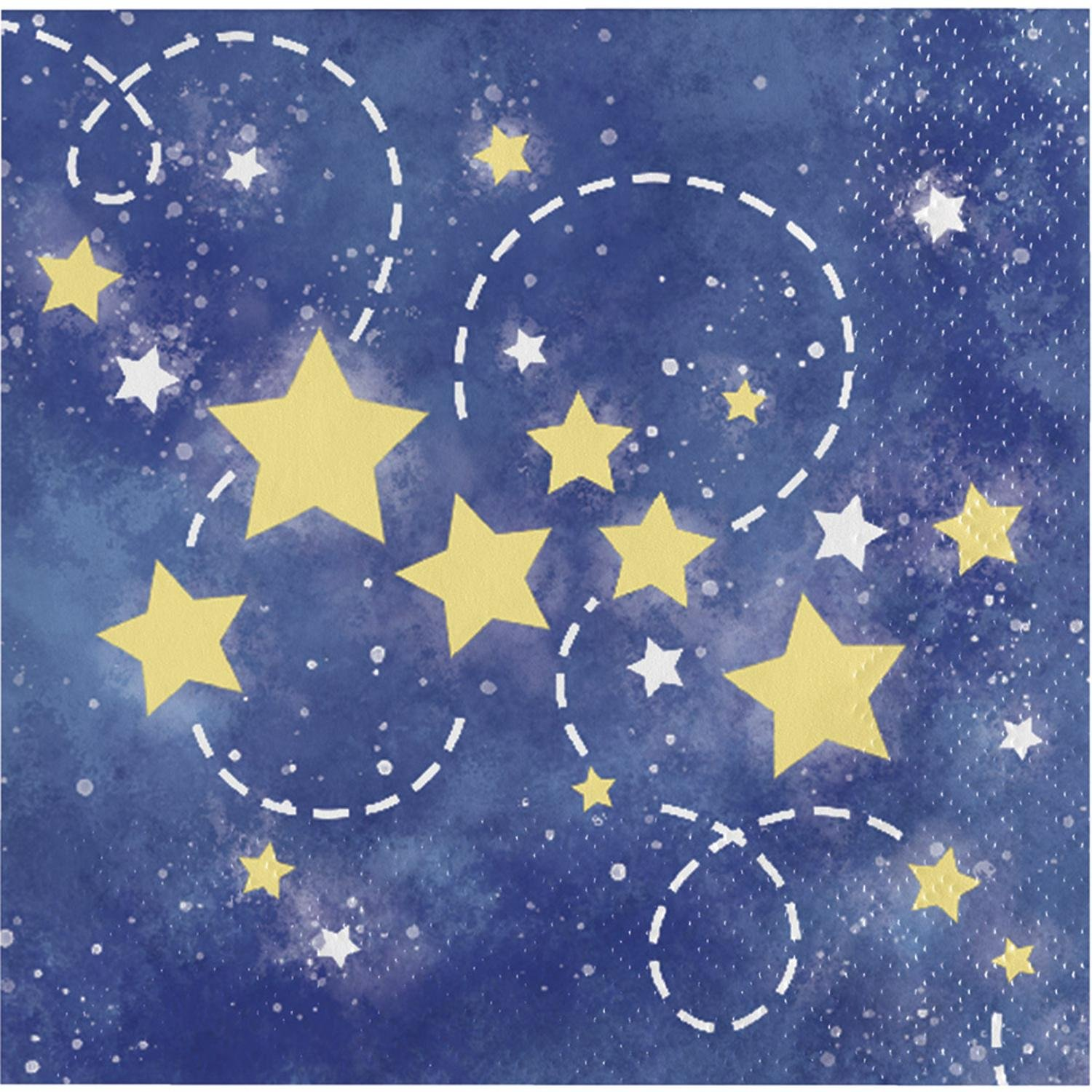 Club Pack of 192ブルーとイエローto the Moon and Back Beverage Napkins 5