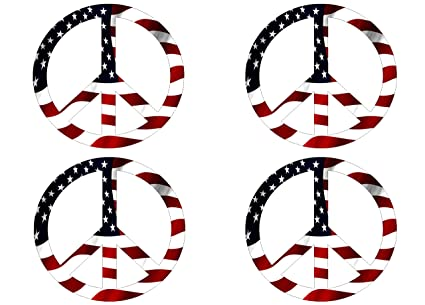 Amazon Pack Of 4 Red White Blue Usa Peace Sign Symbol Decal