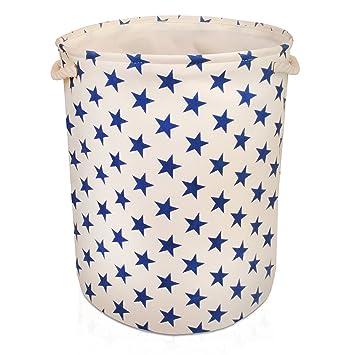 Cremefarbene Aufbewahrungsbox aus Leinen mit Sternen Muster ...