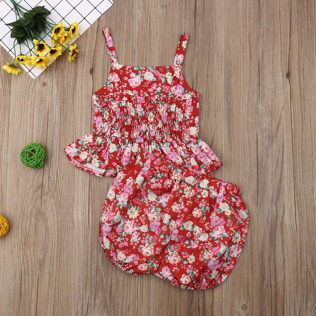 Toddler Baby Girl Floral Off Shoulder Strap Tutu Camisole Top Shorts Pants Summer Outfit Set