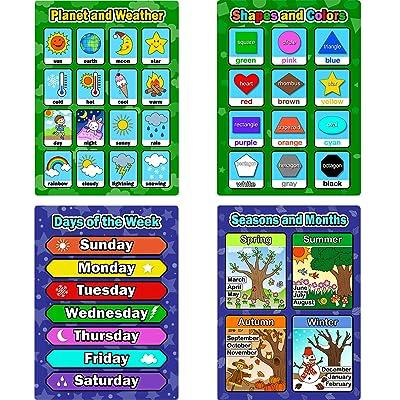 4 Piezas de Pósters Educativos de Aprendizaje, Gráficos de Días de la Semana, Formas y Colores, Estaciones y Meses, Planetas y Clima para los Niños: Oficina y papelería