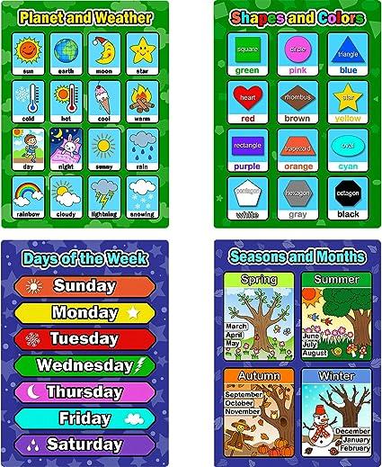 Amazon.com: bememo 4 piezas aprendizaje educativo carteles ...