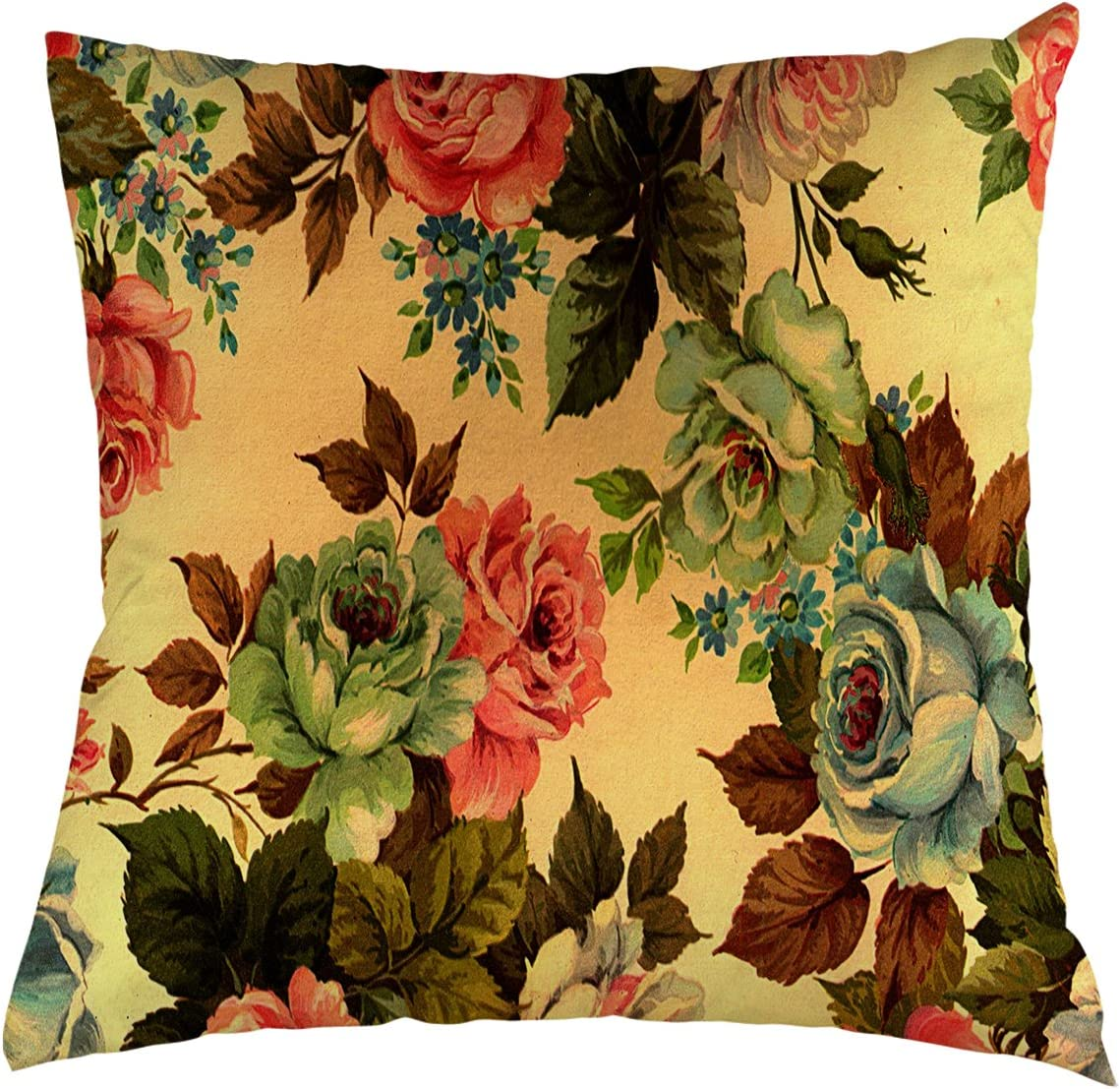 Amazon Com Painting Flowers Throw Pillow Case Beautiful Painting Rose Flowers Background For Home Decorative Throw Pillow Cover 20 X20 Home Kitchen
