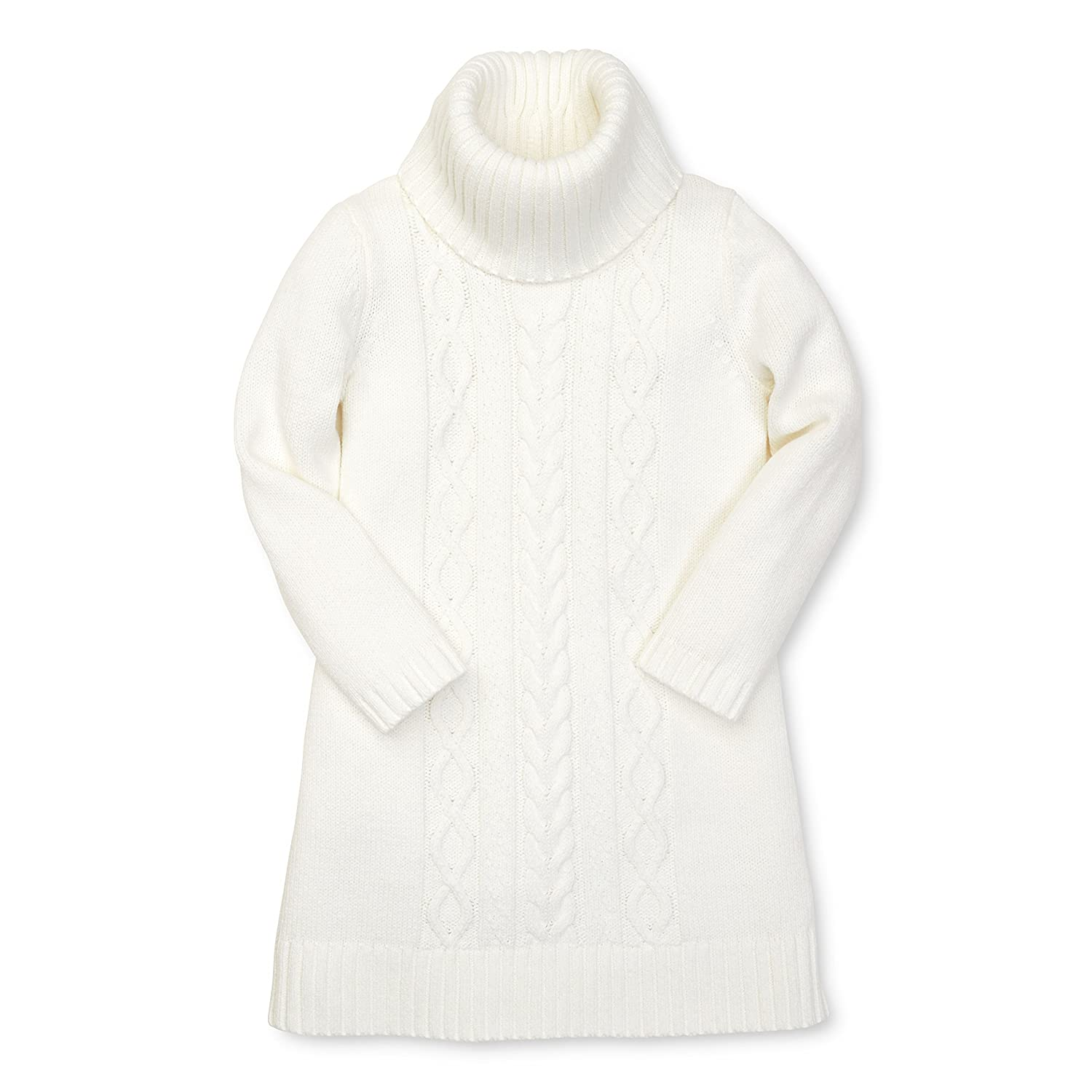 Hope & Henry Girls Ivory Cable Sweater Dress
