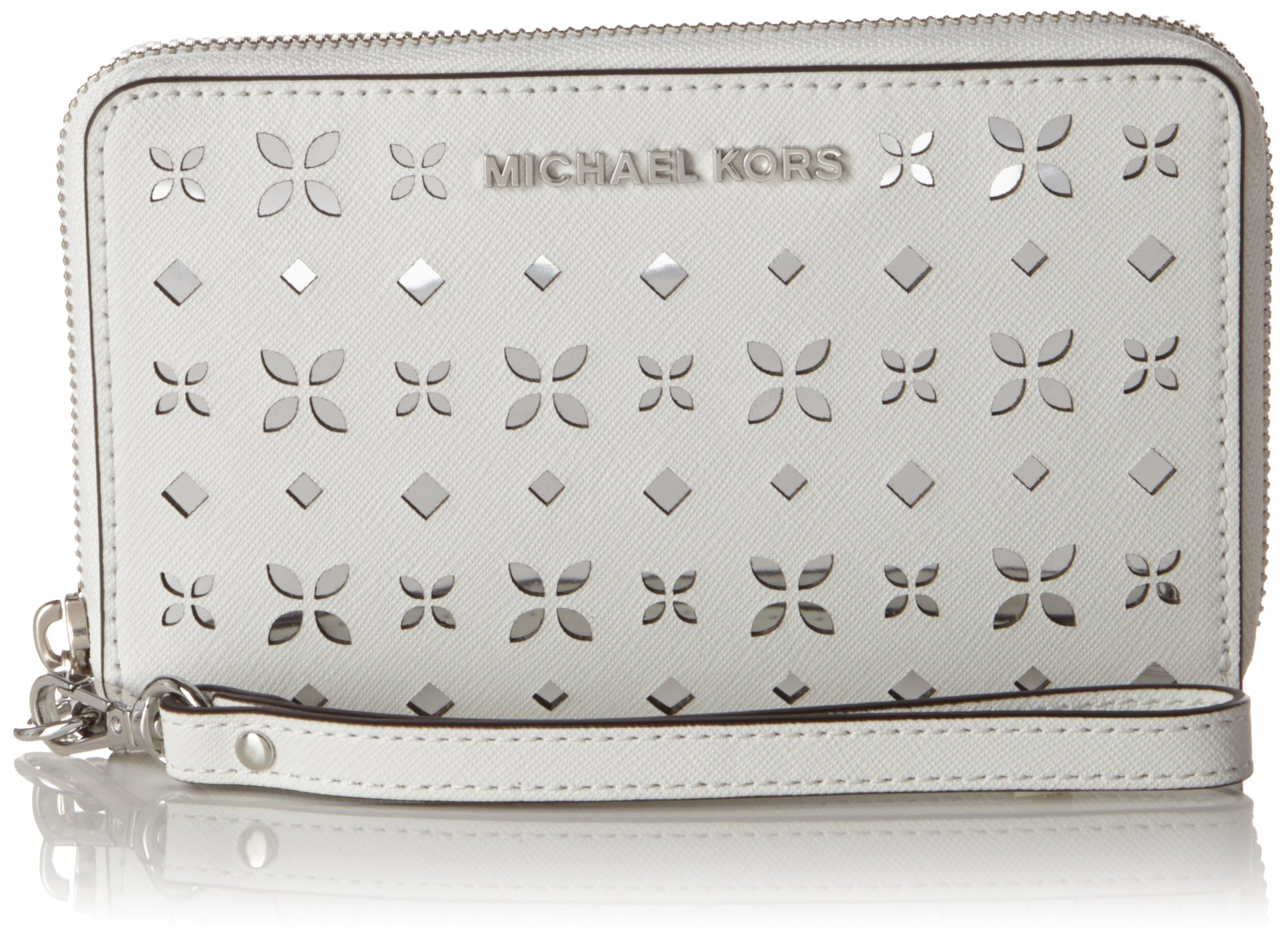 Michael Kors Jet Set Travel Perforated White Leather Wristlet Wallet Phone Case by Michael Kors