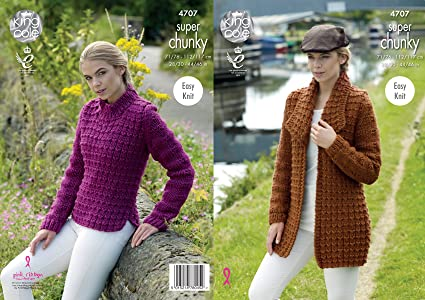 King Cole 4707 Knitting Pattern Easy Knit Jacket And Sweater In King