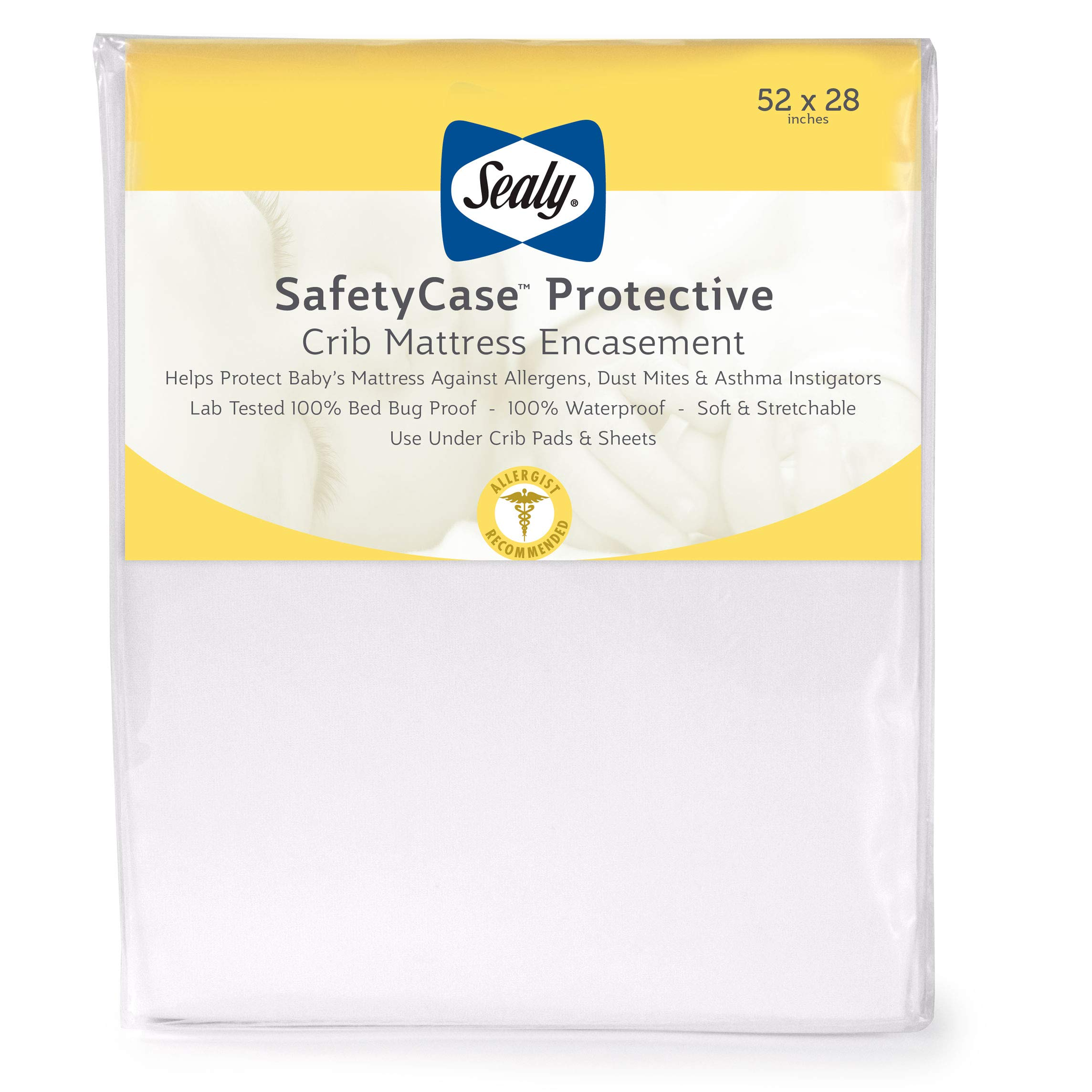 Sealy SafetyCase Protective Waterproof Zippered Toddler and Baby Crib Mattress Encasement - 100% Bed Bug Proof, White, 52'' x 28'' by Sealy