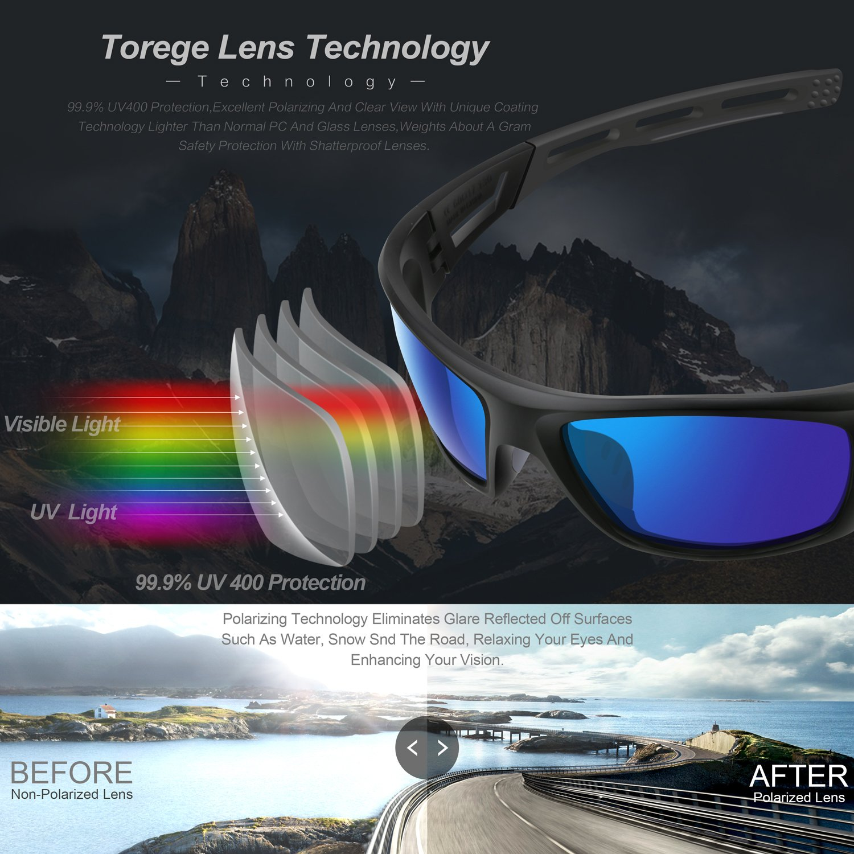 TOREGE, occhiali da sole polarizzati, occhiali da running, per uomo, ciclismo, pesca, golf, TR040, Black&Gray&Gray Lens